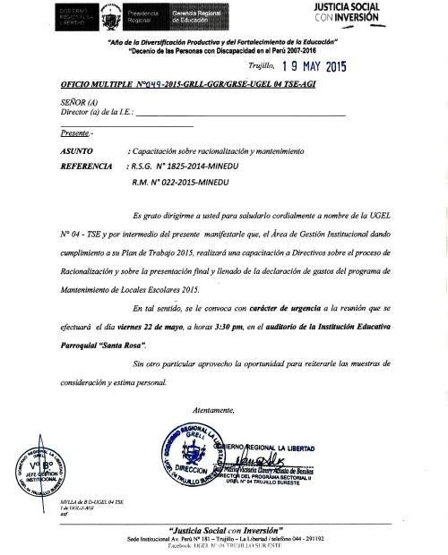 OFICIO UGEL N°04-AGI-RACION. e ING.I