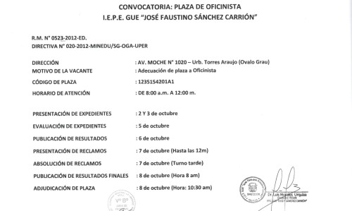 Convocatoria plaza oficinista