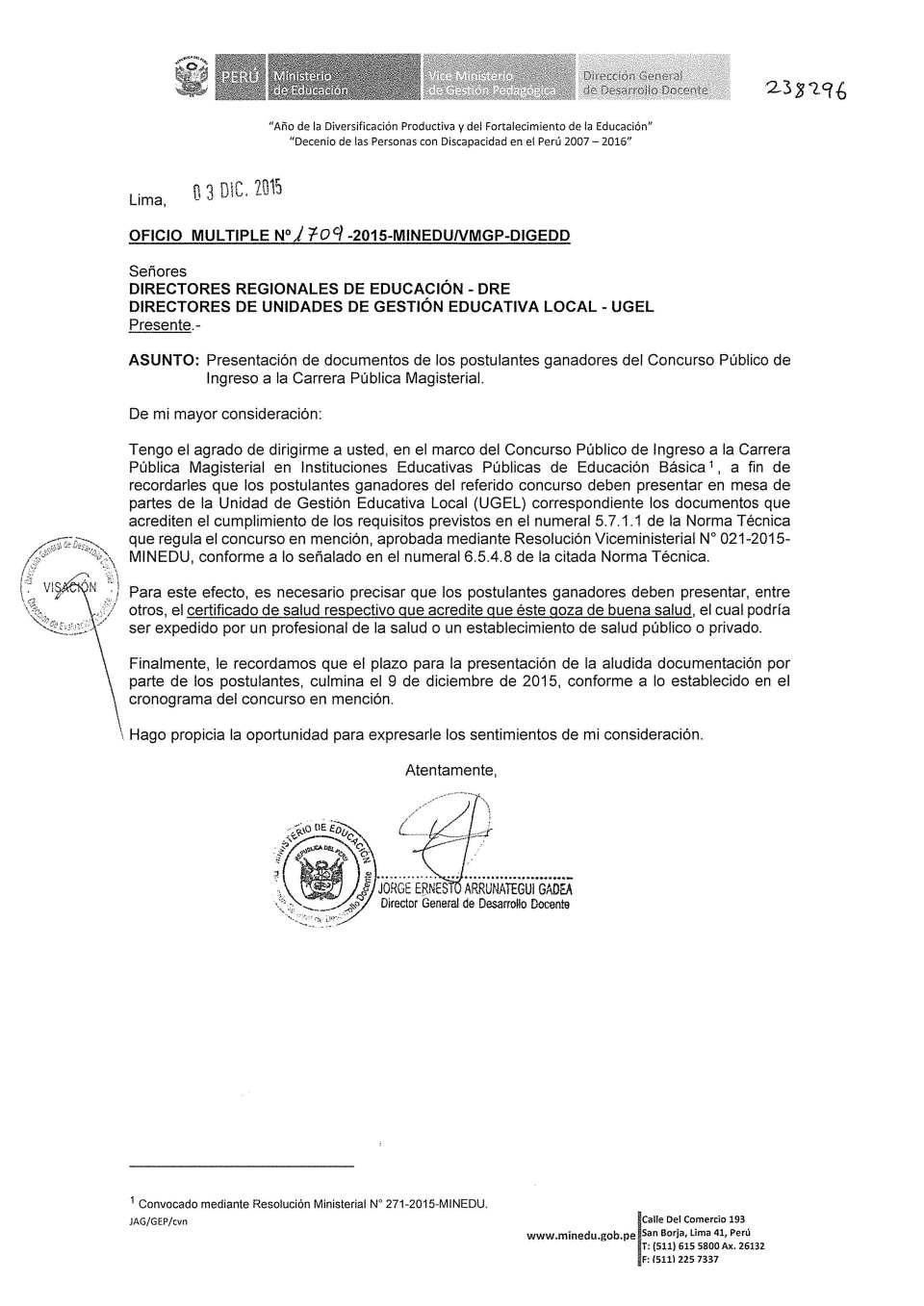 OFICIO MULTIPLE No.1709-2015-MINEDU-VMGP-DIGEDD