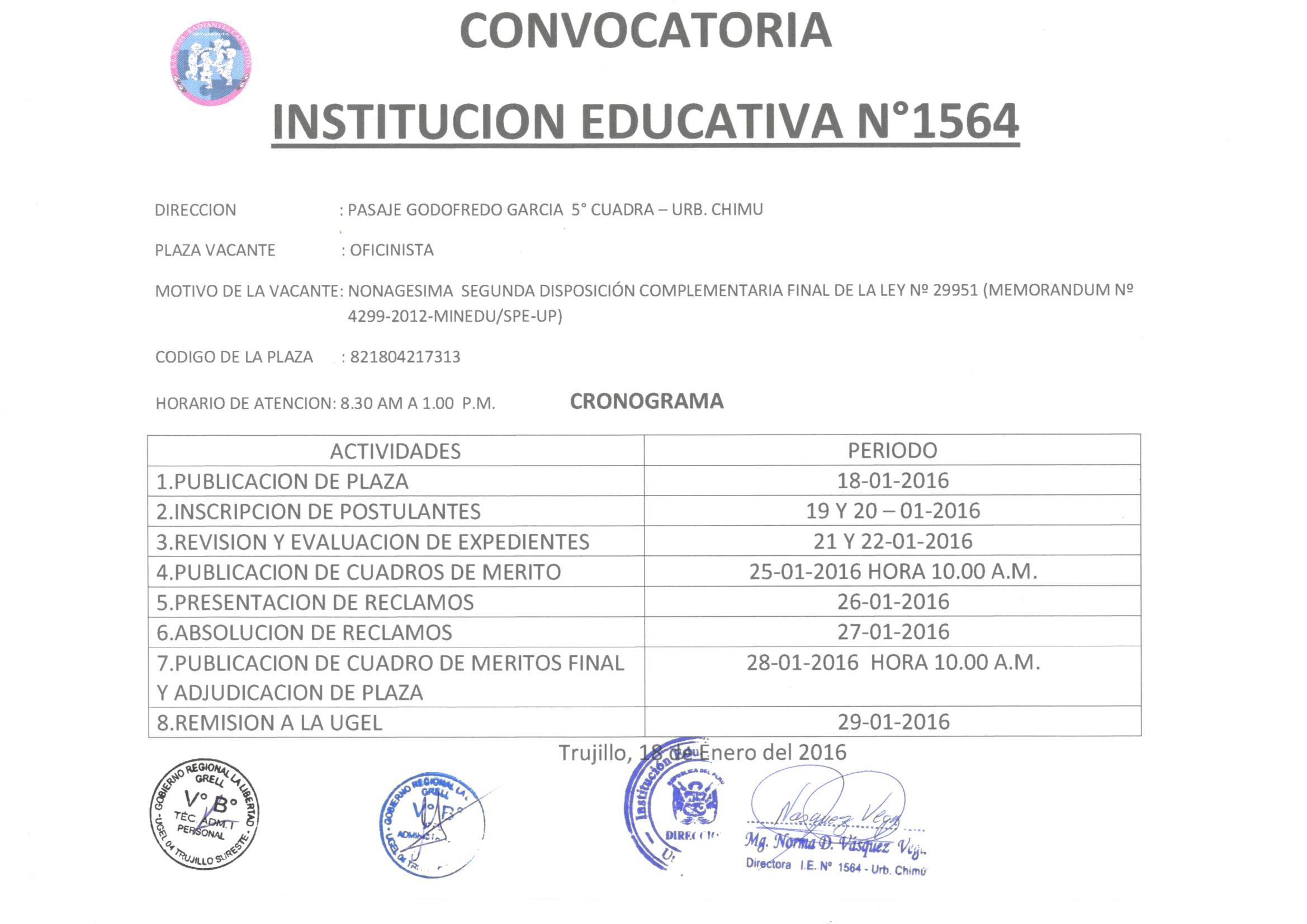 Convocatoria ie 1564 ugel n 04 trujillo sur este for Convocatoria para plazas docentes