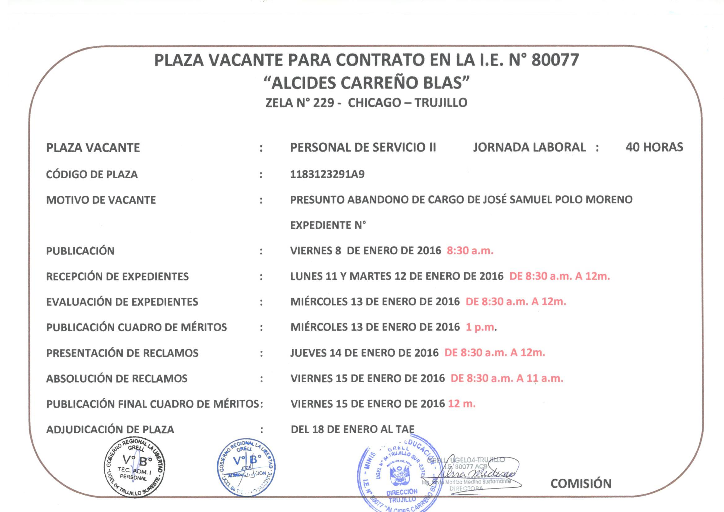 plaza vacante para contrato docente en la i e n 80077