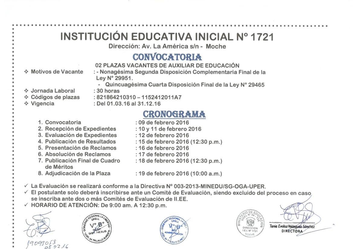 Convocatoria plazas de auxiliar de educaci n i e 1721 Convocatoria para las plazas docentes 2016