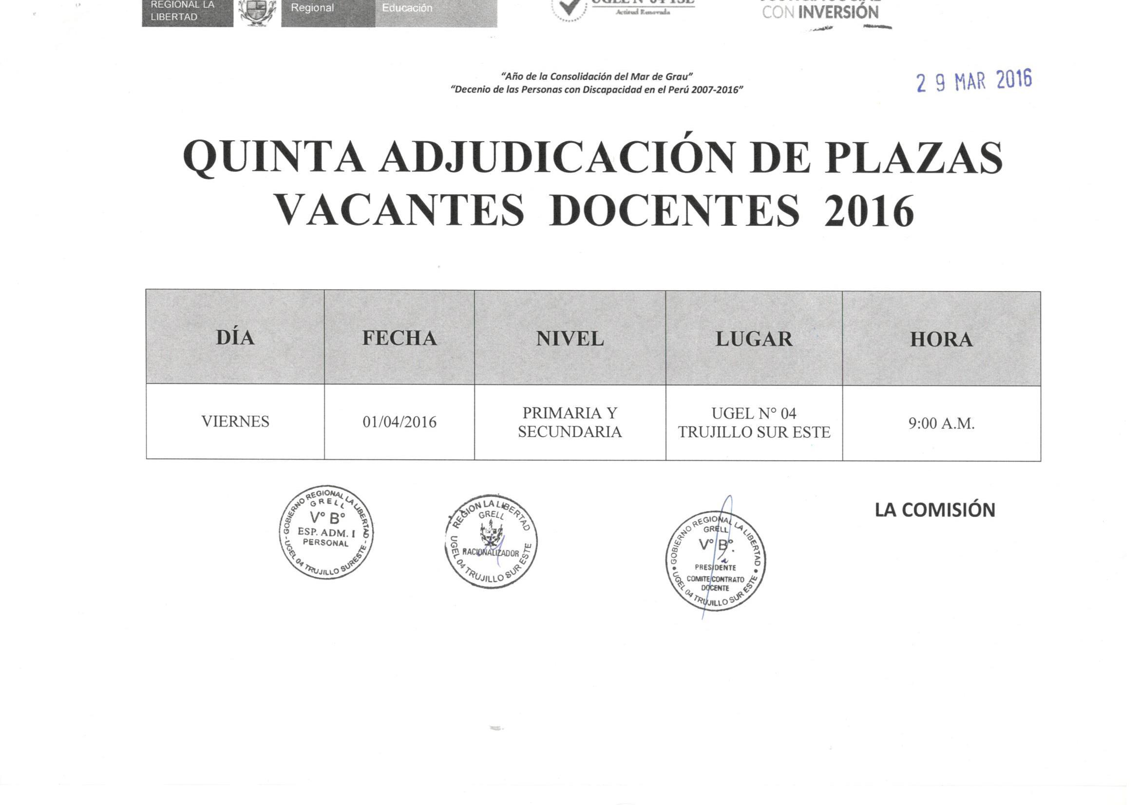 Quinta adjudicaci n y relaci n de plazas vacantes docentes Convocatoria para las plazas docentes 2016