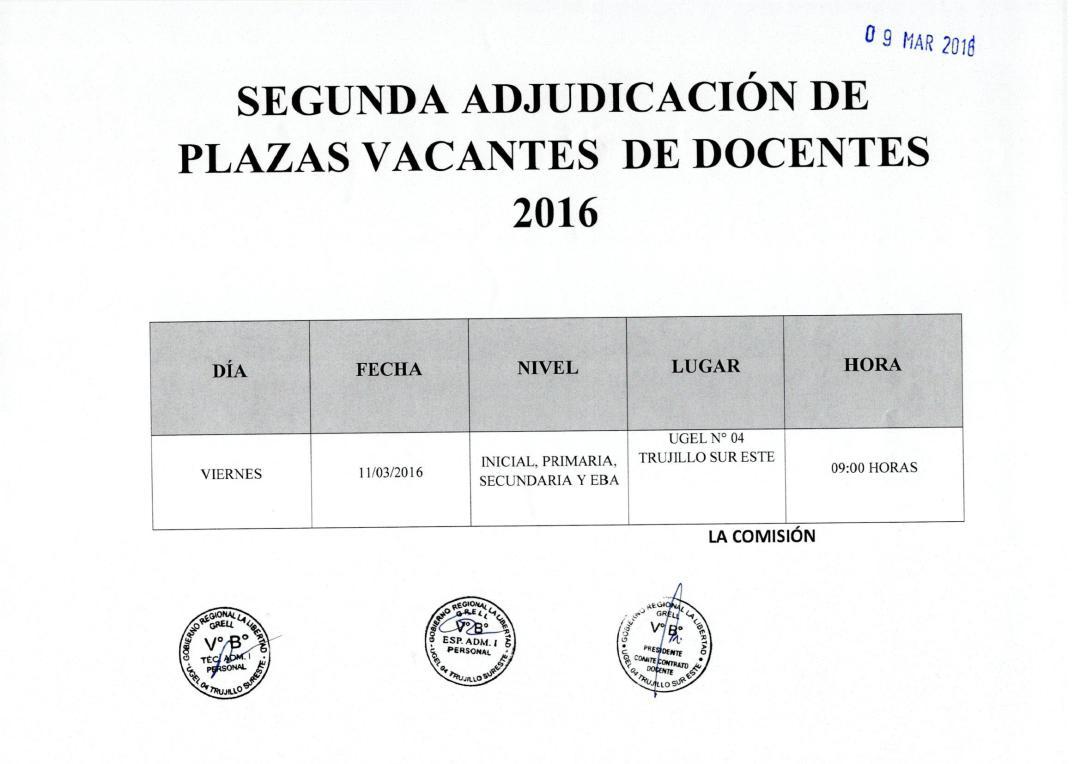 Adjudicacion de docente 2016 segunda adjudicaci n y for Convocatoria para el concurso de plazas docentes 2016