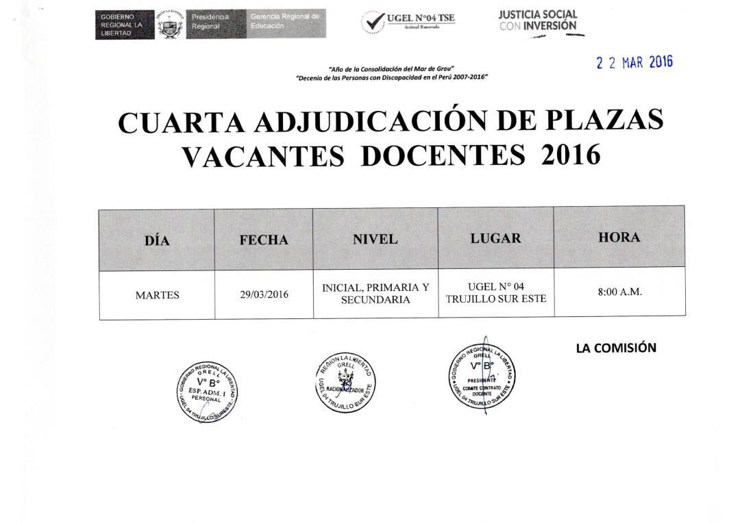 Cuarta adjudicaci n y relaci n de plazas vacantes de for Plazas de docentes 2016