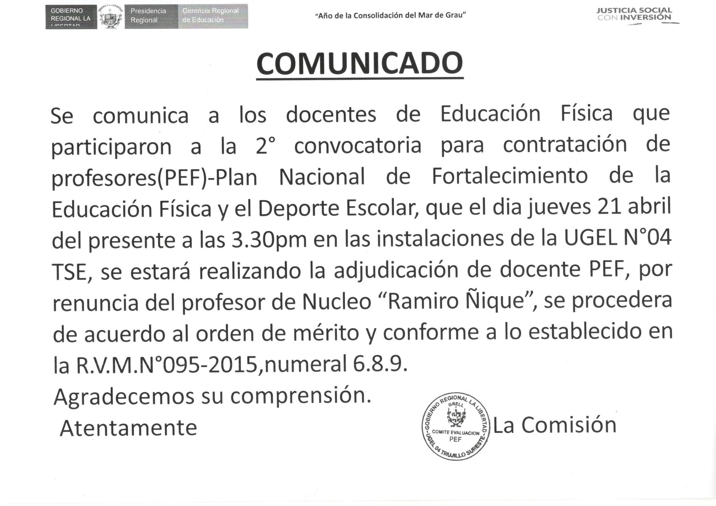 Comunicado docentes de educaci n f sica ugel 04 tse for Convocatoria para docentes 2016