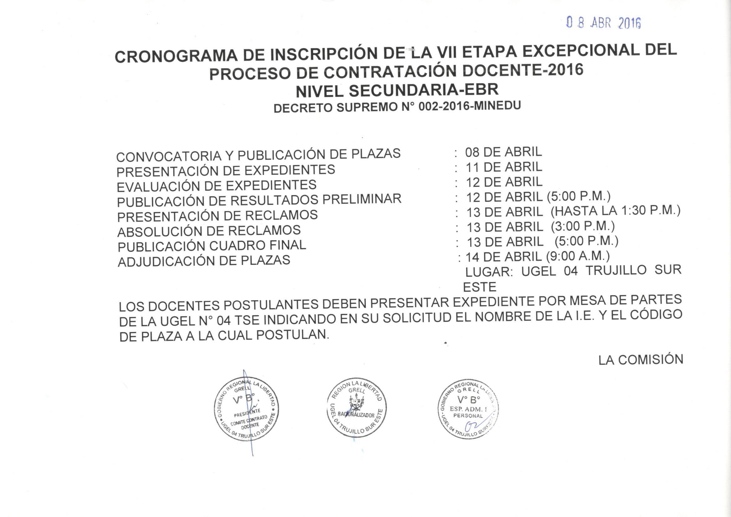 Cronograma y relaci n de plazas de la vii etapa for Plazas de docentes 2016