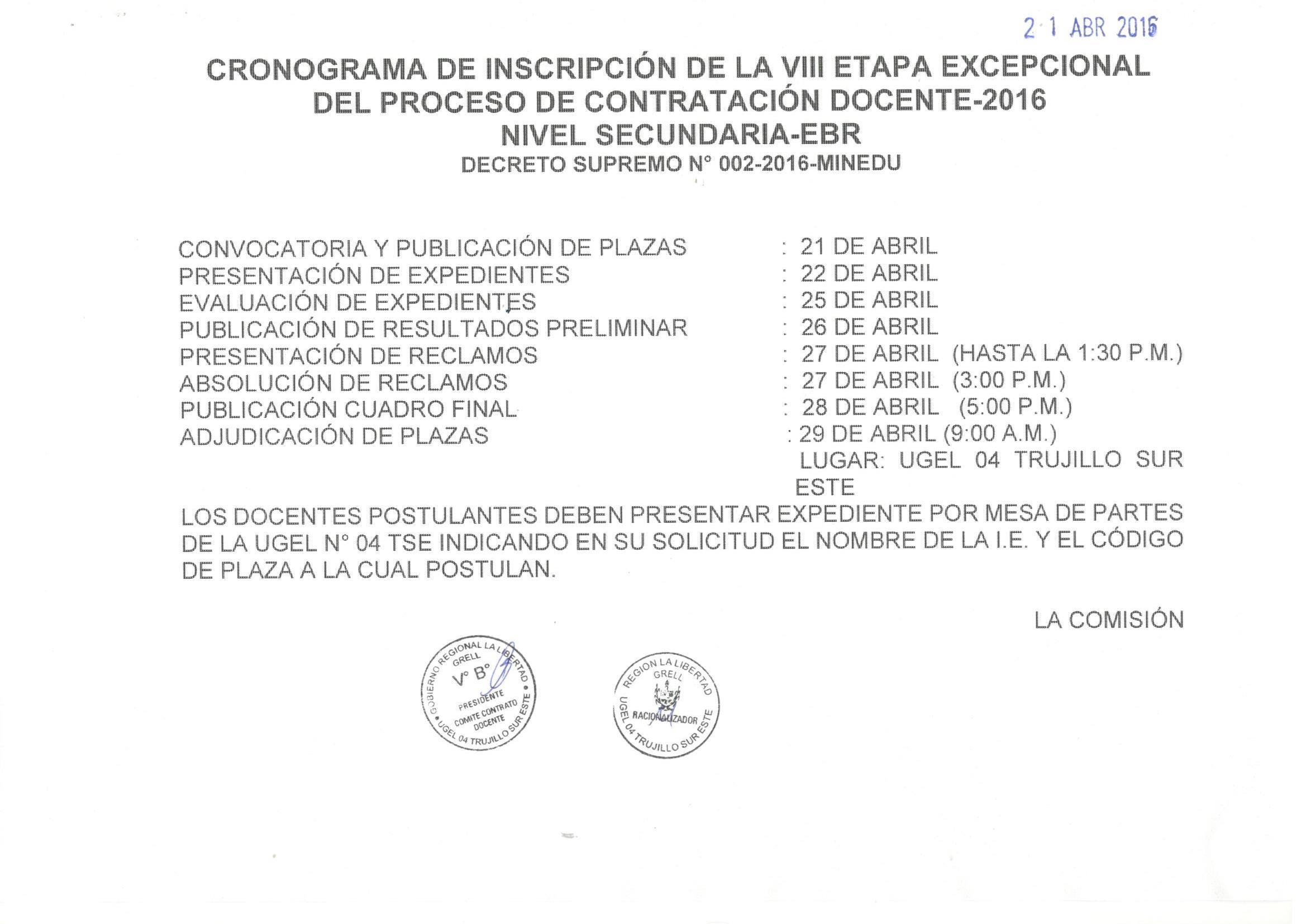 Cronograma y relaci n de plazas de inscripci n de la viii Convocatoria para las plazas docentes 2016