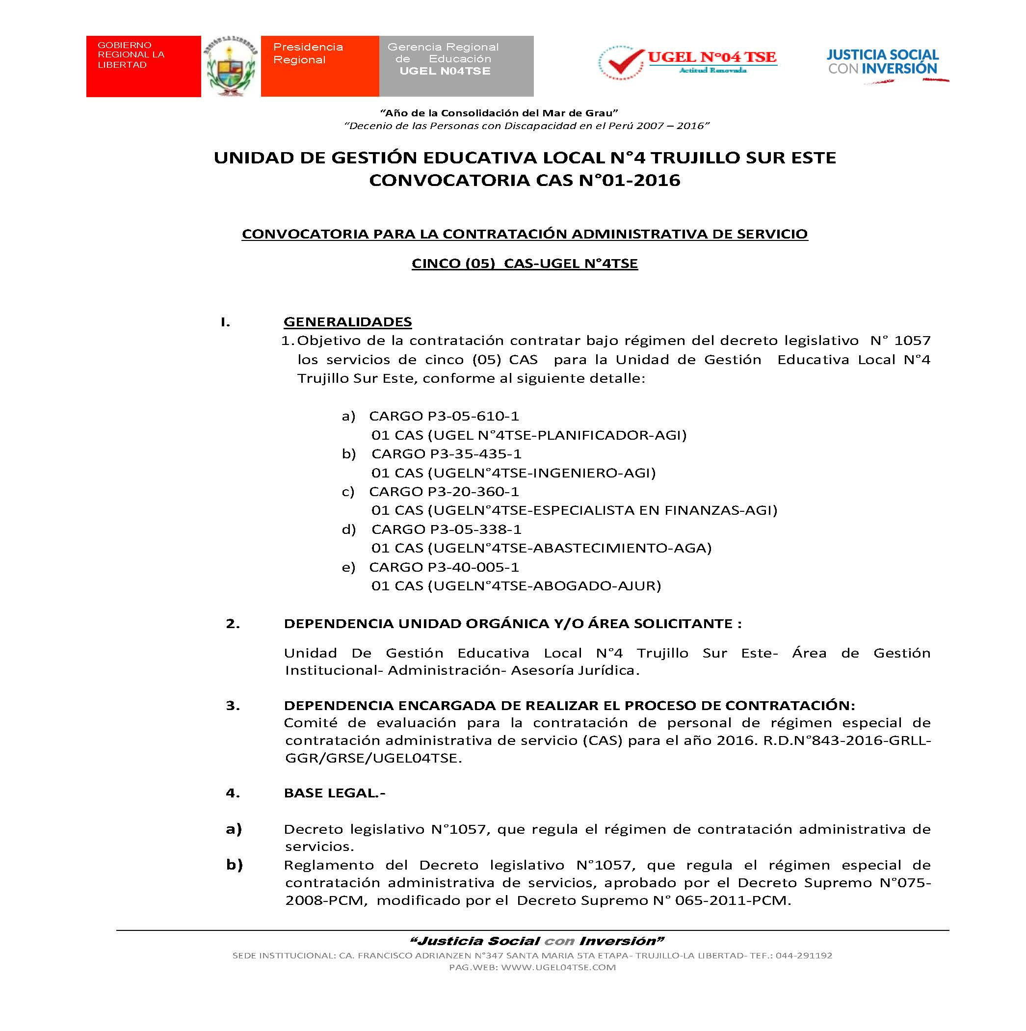 Convocatoria cas n 01 2016 convocatoria para la for Convocatoria de docentes 2016