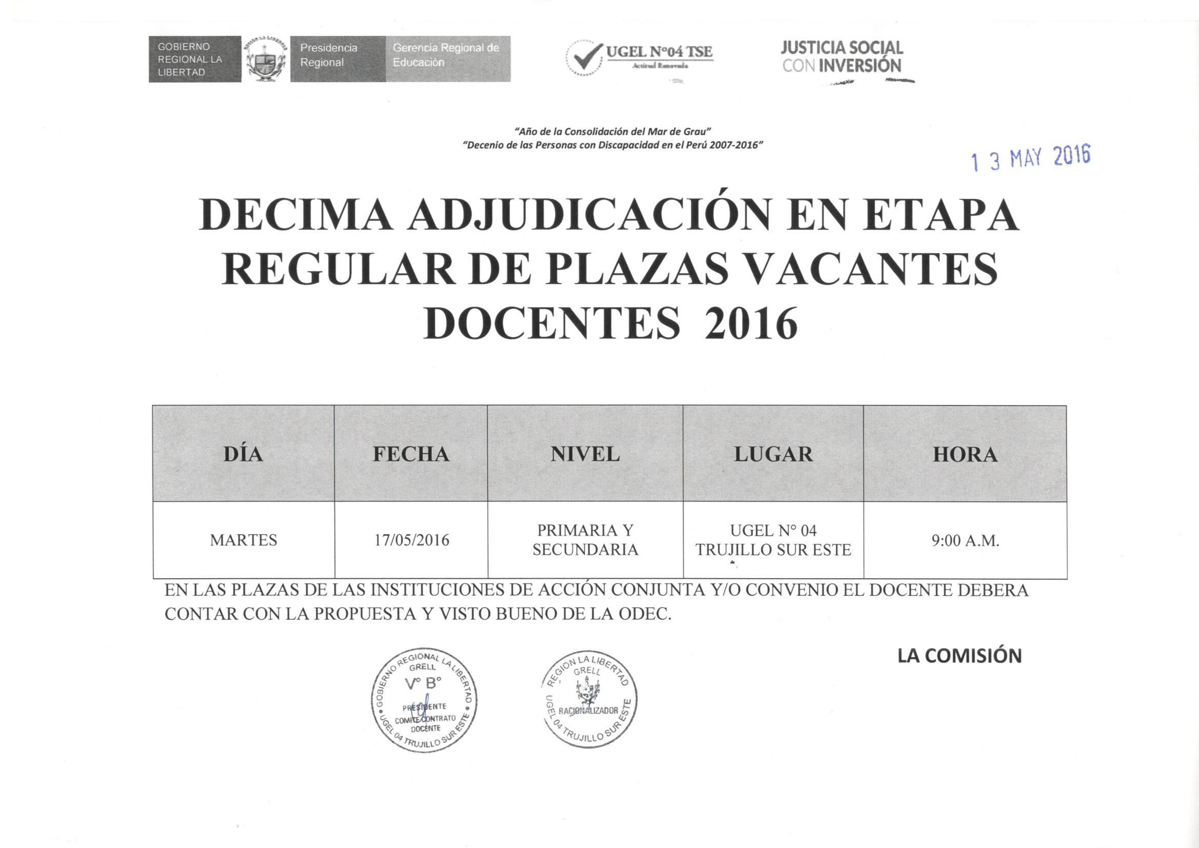 D cima adjudicaci n en etapa regular de plazas vacantes for Convocatoria de plazas docentes 2016