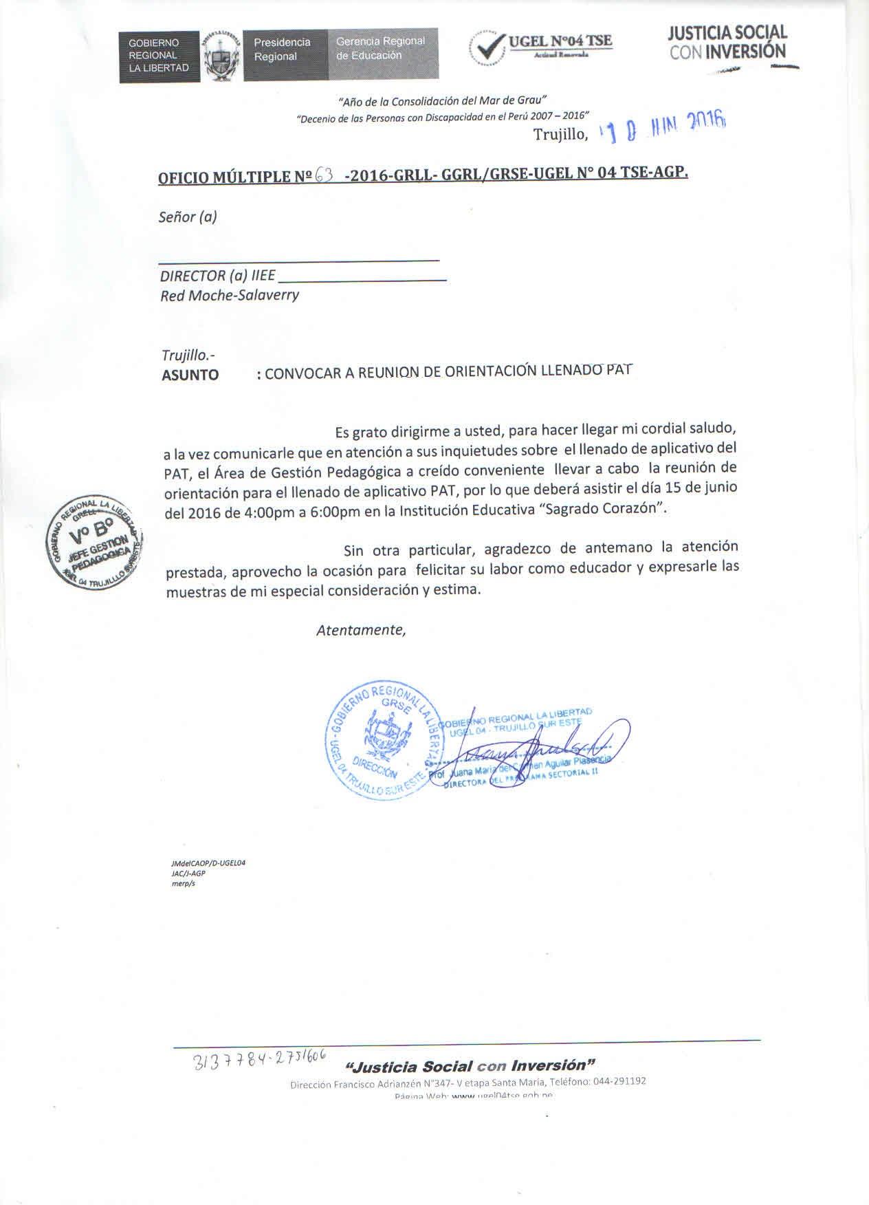Oficio m ltiple n 63 2016 agp red moche salaverry for Convocatoria para docentes 2016