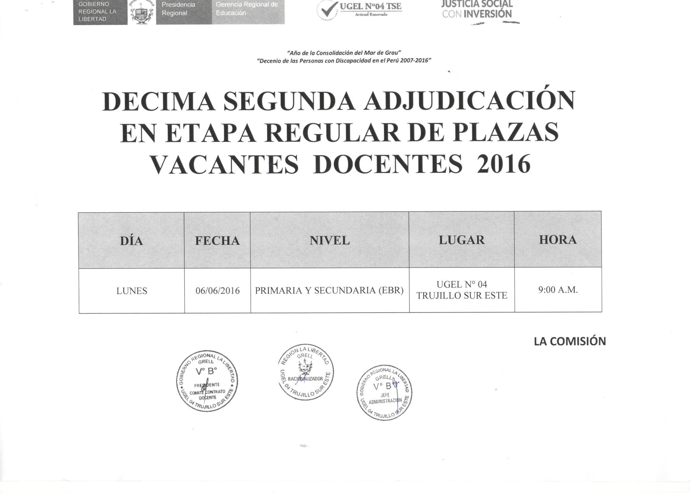 D cima segunda adjudicaci n y relaci n de plazas en etapa for Plazas de docentes 2016