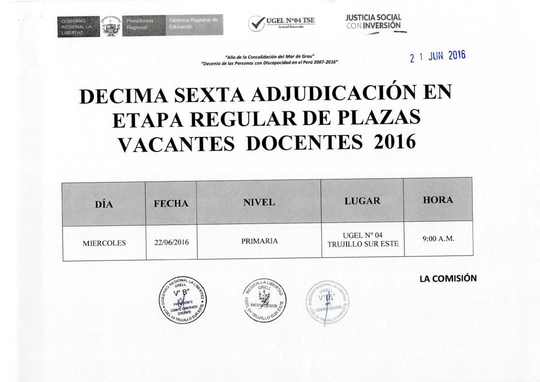 Decima sexta adjudicaci n y relaci n de plazas docente for Plazas docentes disponibles 2016