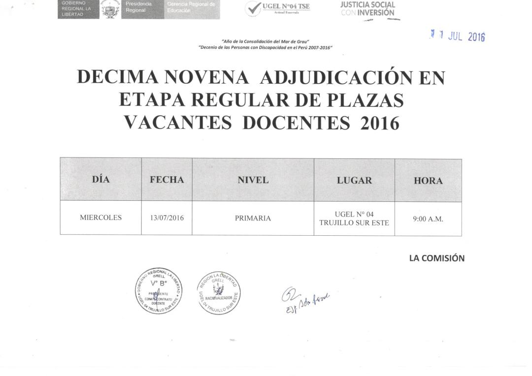 Decima novena adjudicaci n en etapa regular de plazas for Plazas de docentes 2016