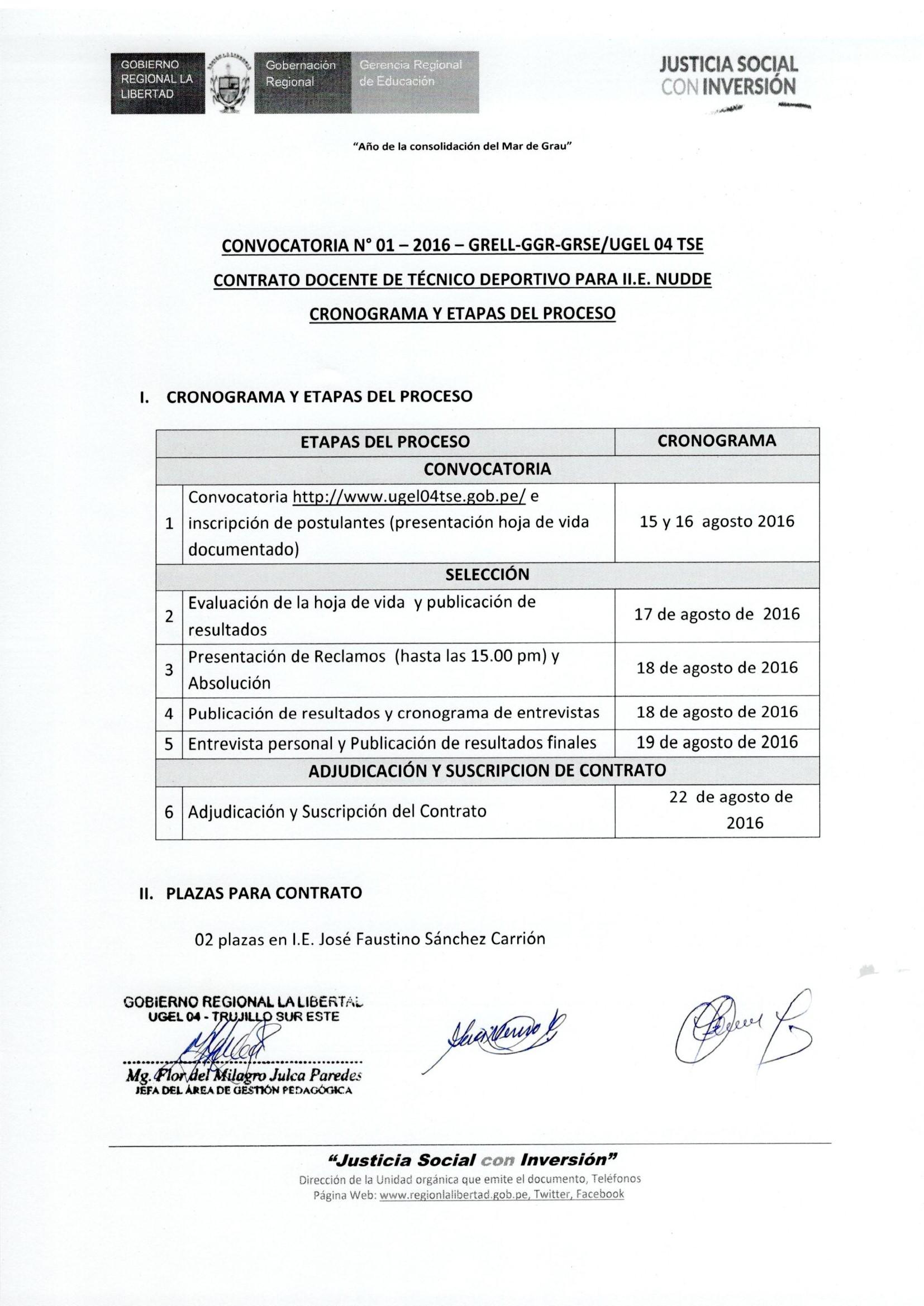Convocatoria n 01 2016 grell ggr grse ugel 04 tse Convocatoria para las plazas docentes 2016