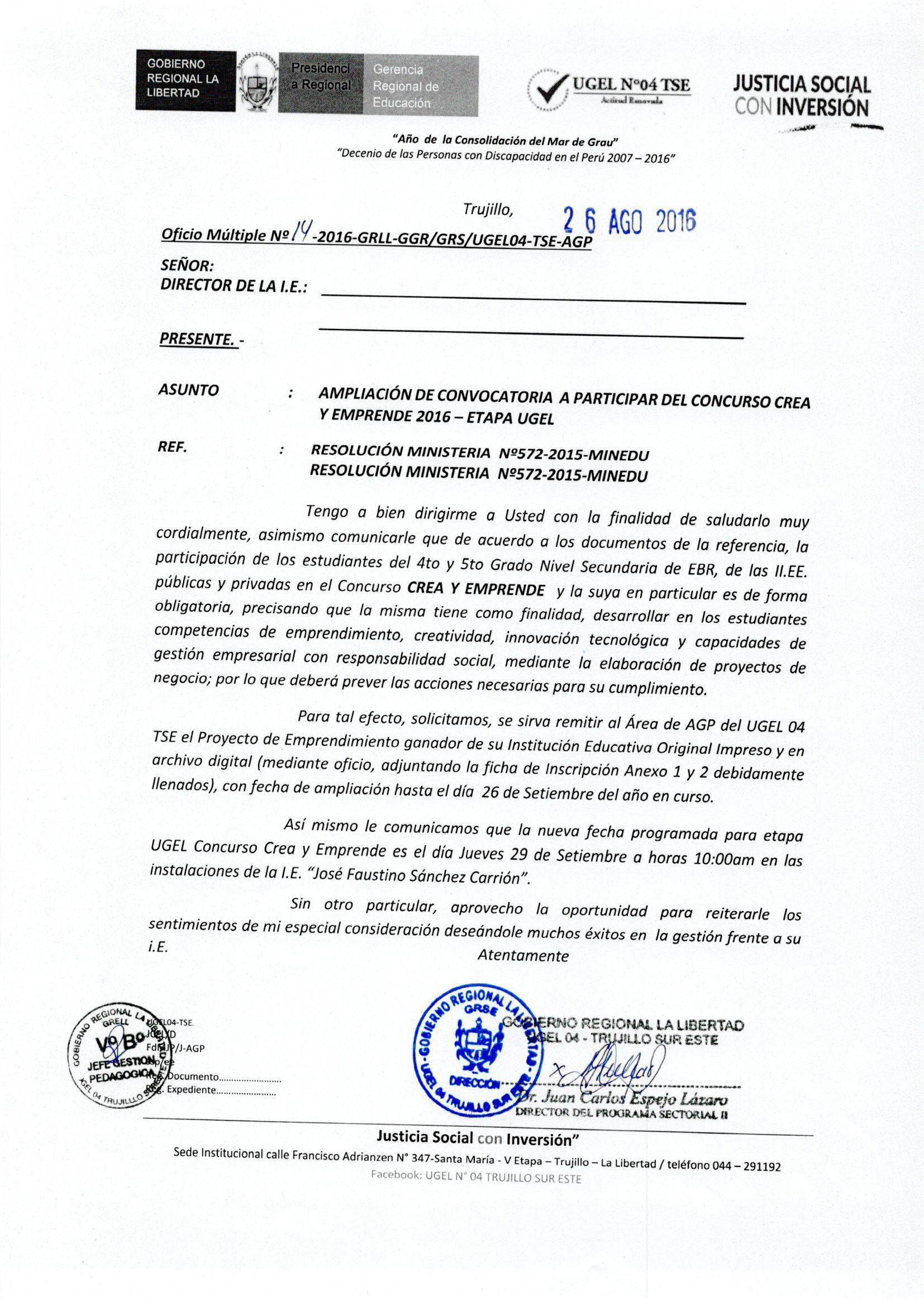 Oficio m ltiple n 14 2016 grll ggr grs ugel04tse agp for Convocatoria para docentes 2016
