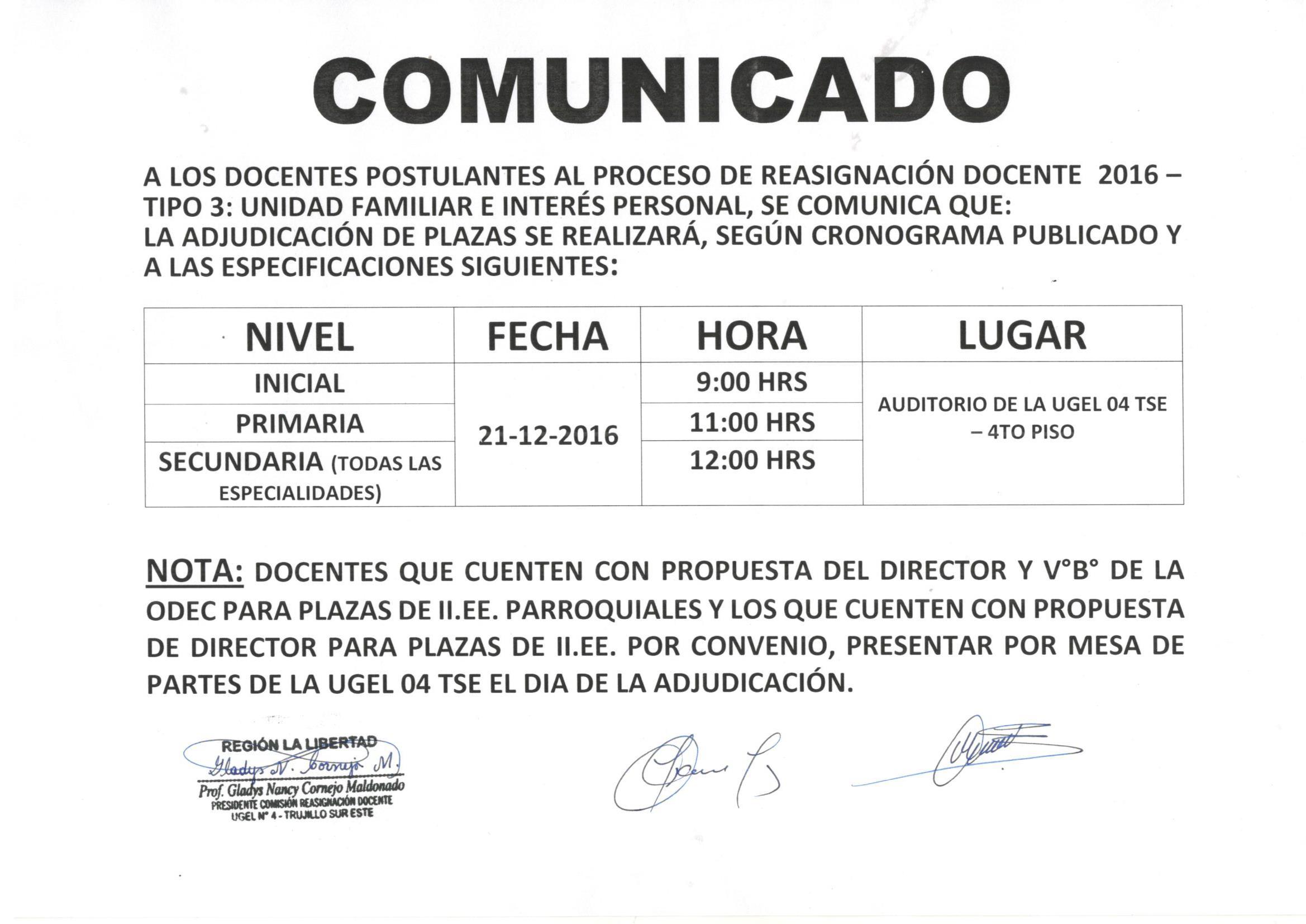Comunicado reprogramaci n de adjudicaci n de plazas for Plazas de docentes 2016