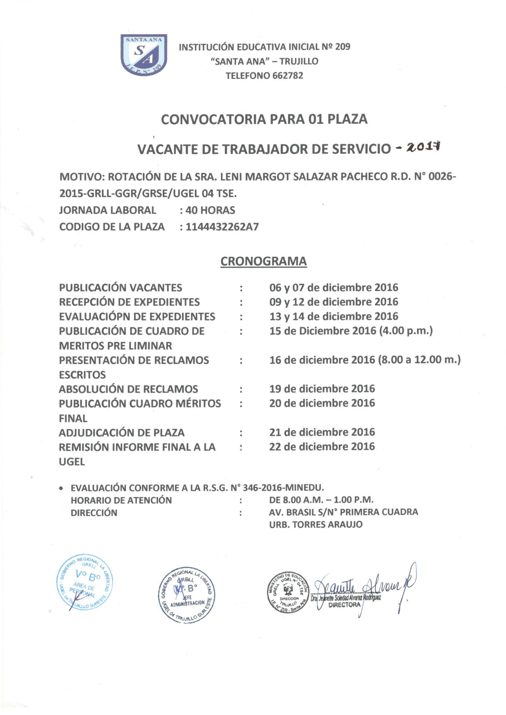 Convocatoria para contrataci n de personal de servicios for Convocatoria para docentes 2016