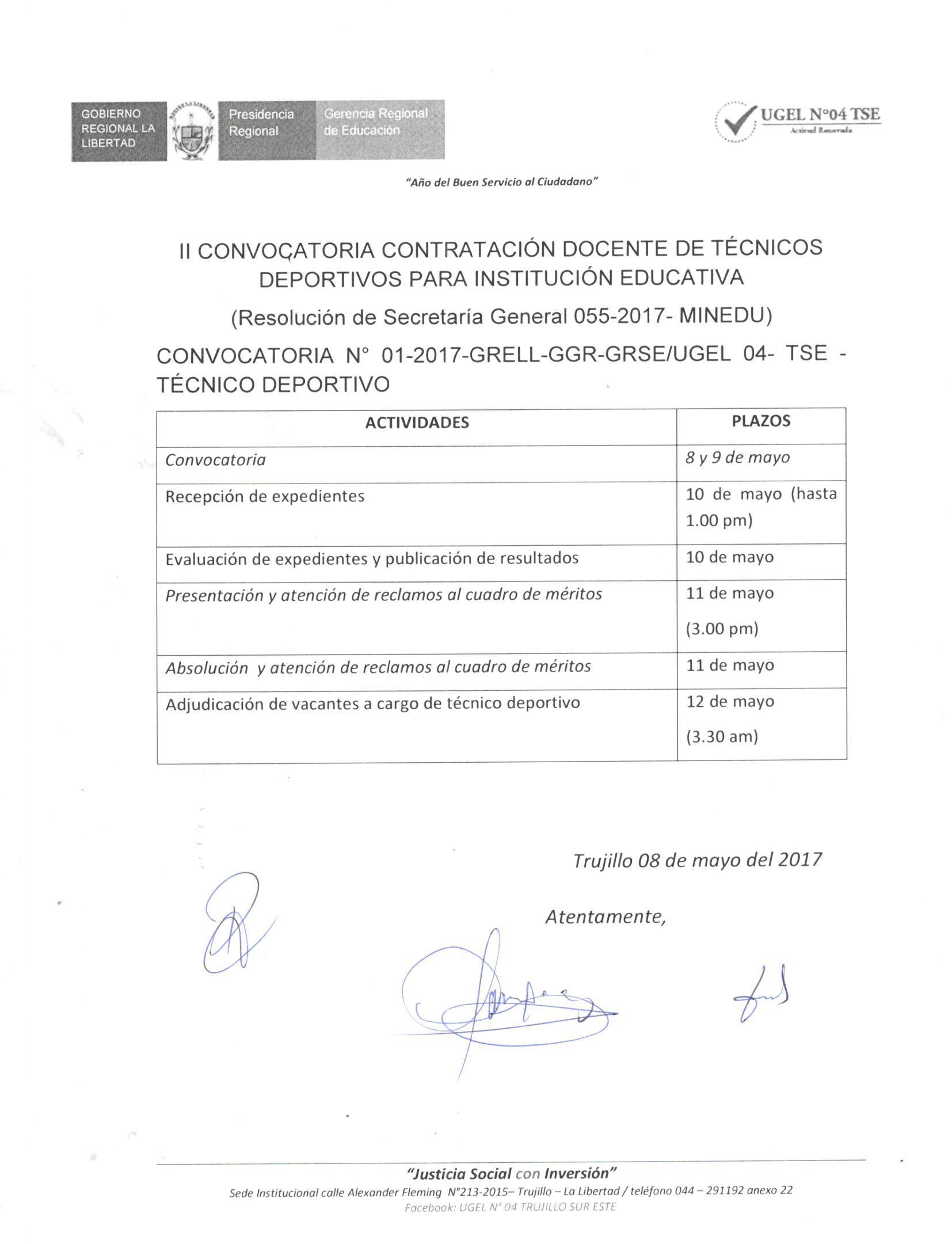 Ii convocatoria contrataci n docente de t cnicos for Convocatoria de docentes 2017