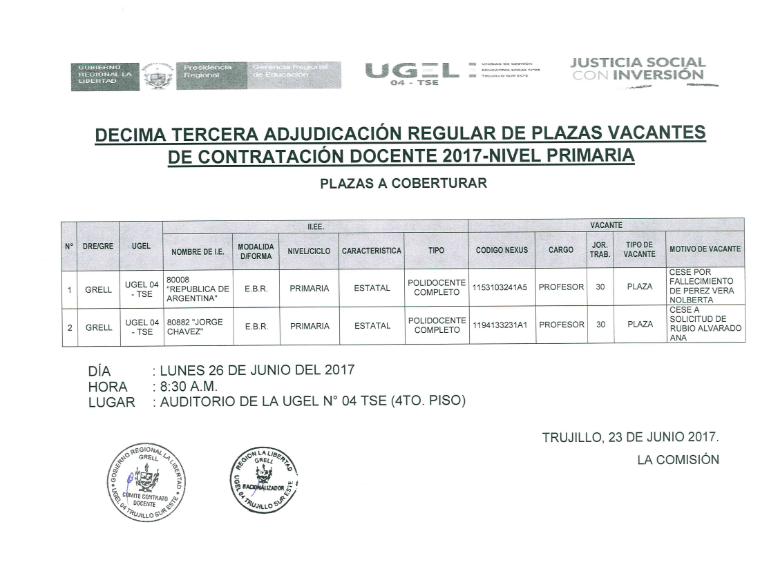 D cima tercera adjudicaci n regular de plazas vacantes for Vacantes docentes 2017
