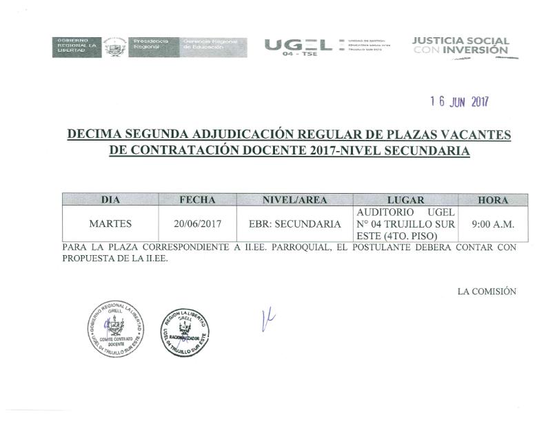Decima segunda adjudicacion regular de plazas contrato for Convocatoria de plazas docentes 2017