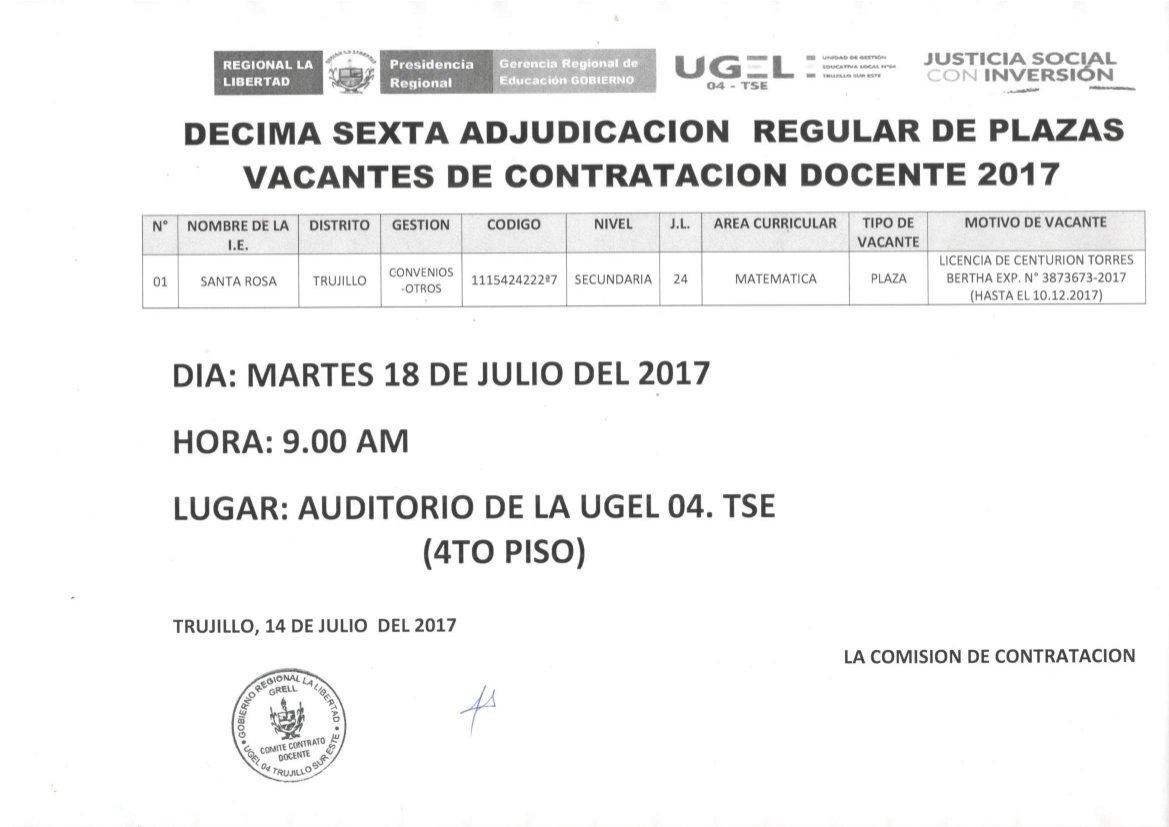 DÉCIMA SEXTA ADJUDICACIÓN REGULAR DE PLAZAS VACANTES