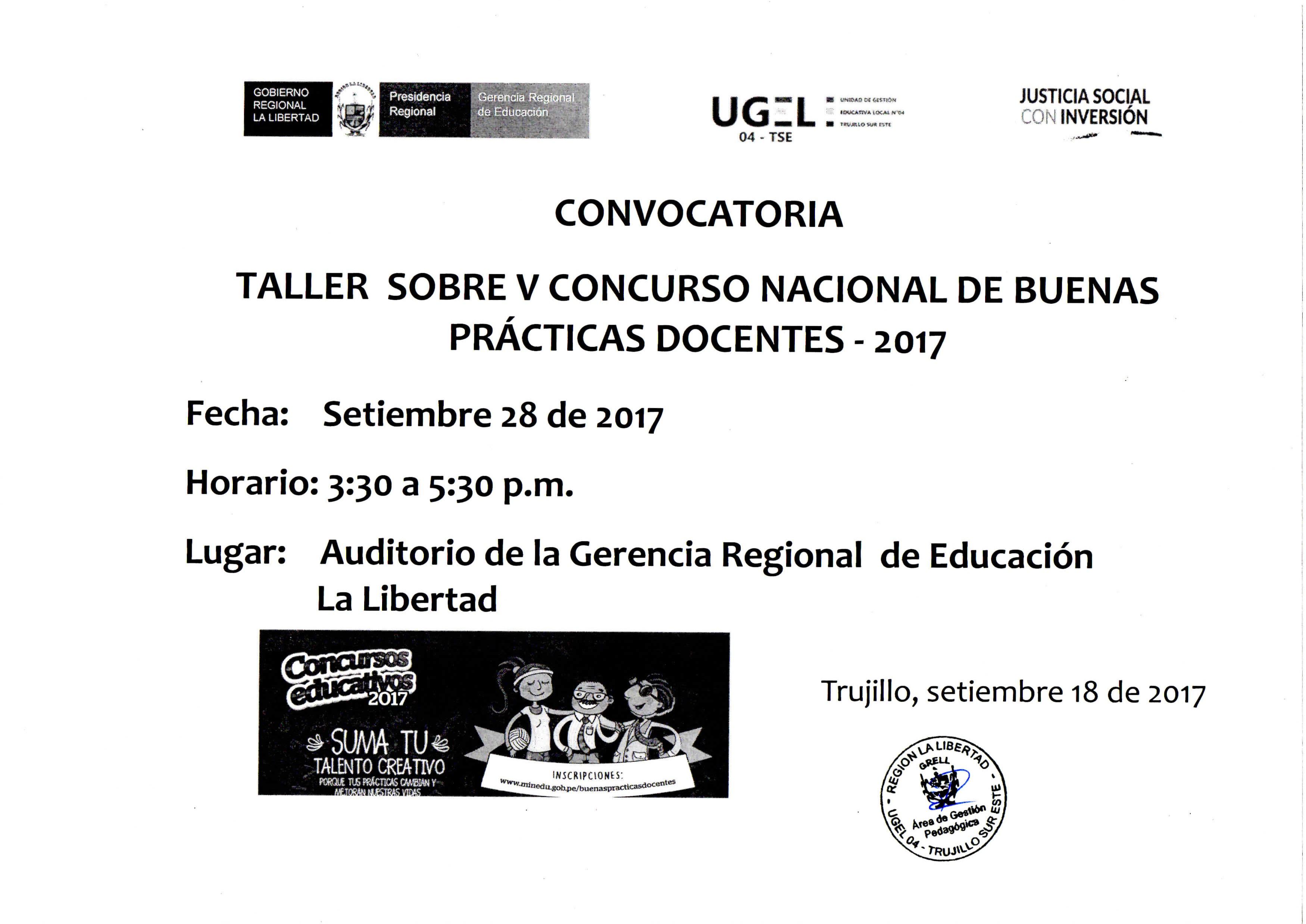 Convocatoria taller sobre v concurso nacional de buenas for Convocatoria de docentes 2017