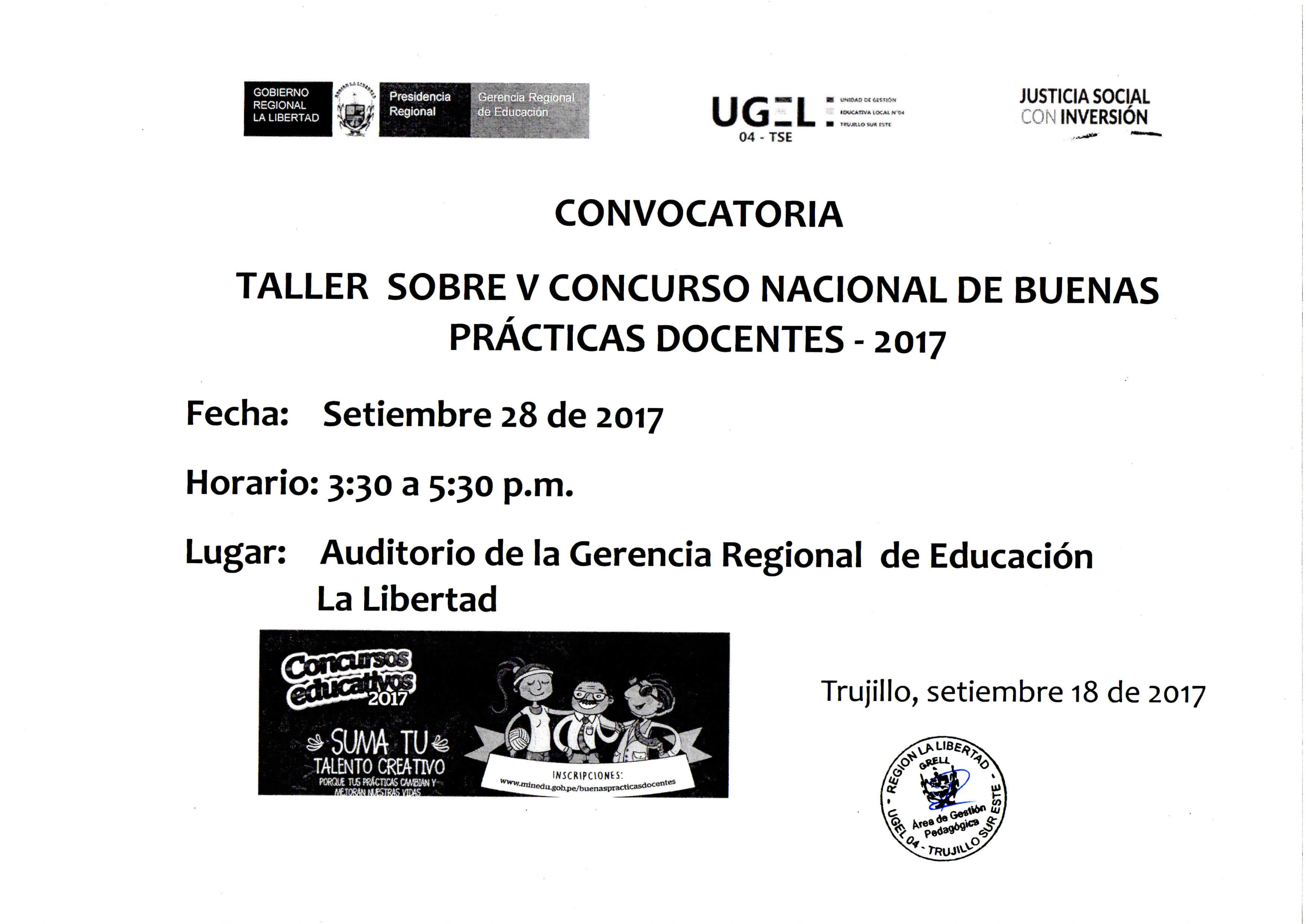 Convocatoria taller sobre v concurso nacional de buenas for Concurso docentes 2017