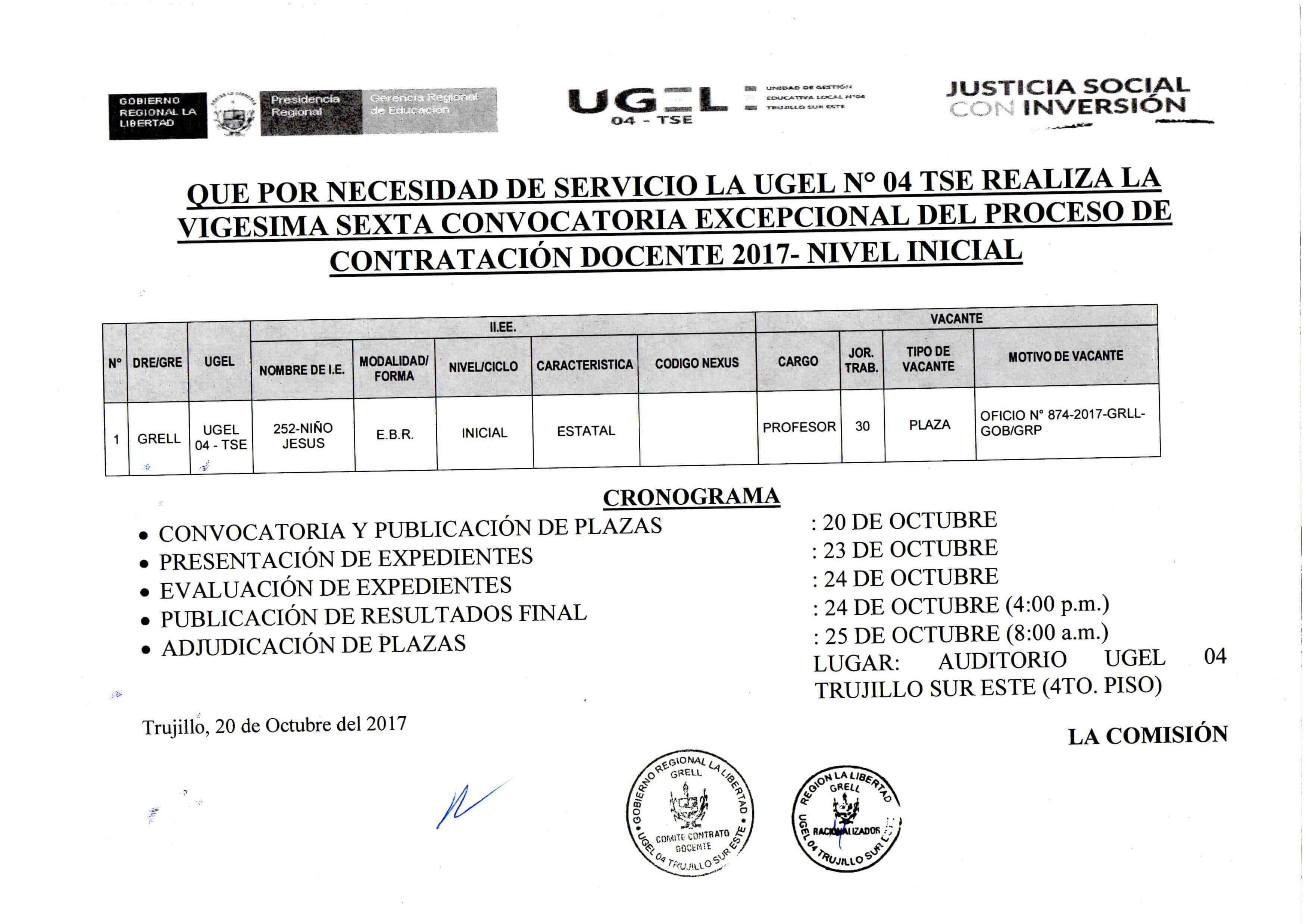 Vigesima sexta convocatoria excepcional del proceso de for Convocatoria de docentes 2017