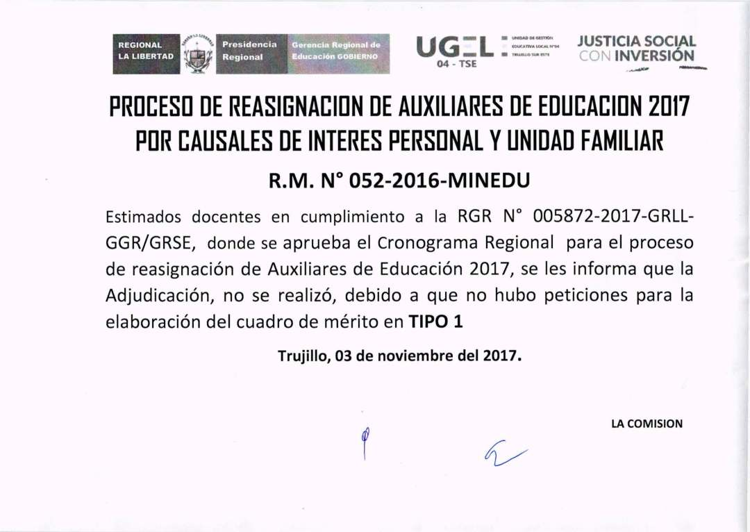 PROCESA DE REASIGNACION DE AUXILIARES DE EDUCACIÓN 2017 POR CAUSALES ...