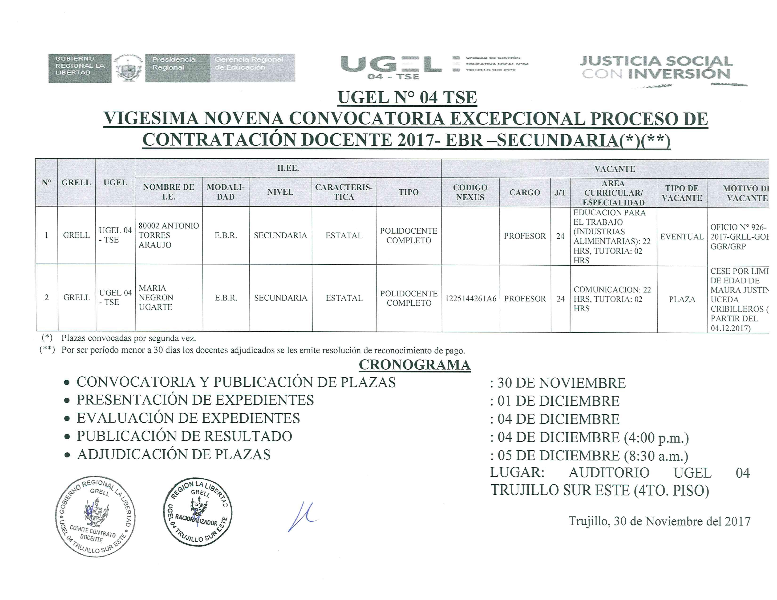 Vigesima novena convocatoria excepcional excepcional for Convocatoria de plazas docentes 2017