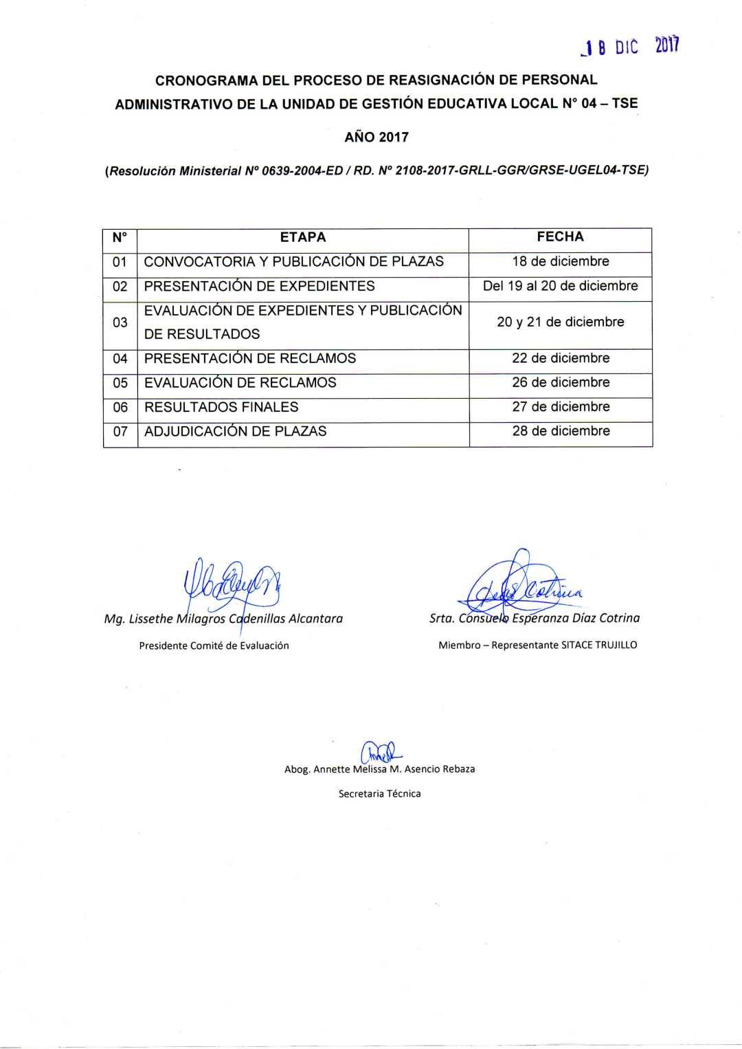 CRONOGRAMA DEL PROCESO DE REASIGNACIÓN DE PERSONAL ADMINISTRATIVO DE ...