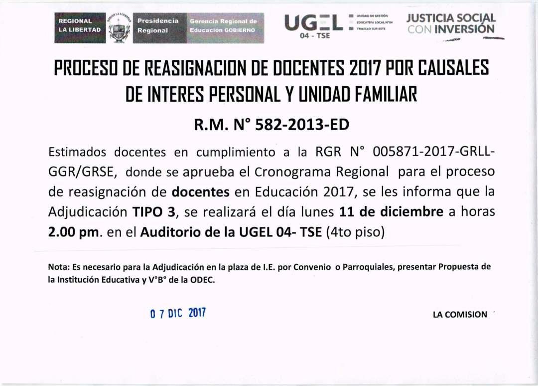 PROCESO DE REASIGNACIÓN DOCENTE 2017 POR CAUSALES DE INTERÉS ...