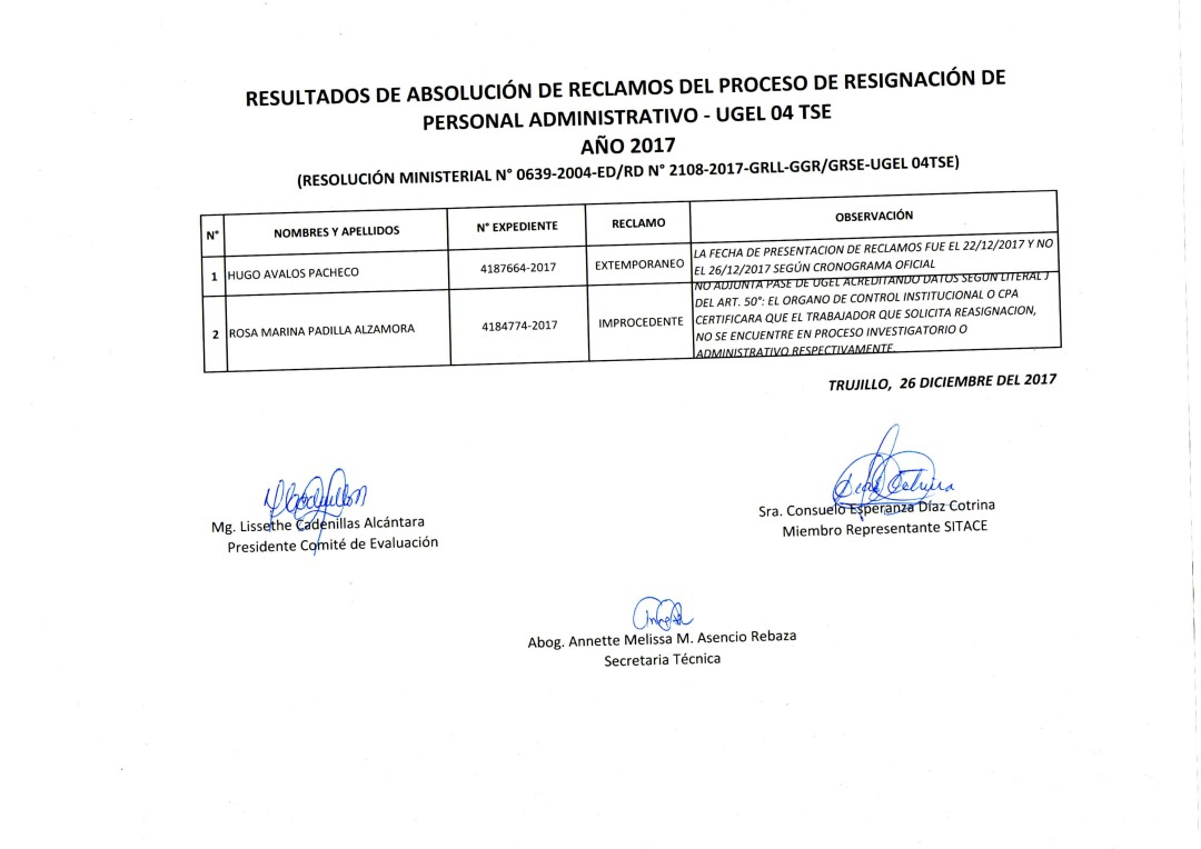 RESULTADOS DE ABSOLUCIÓN DE RECLAMOS DEL PROCESO DE REASIGNACIÓN DE ...